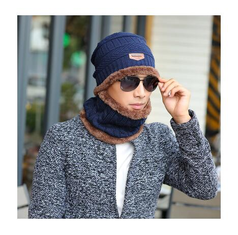 Men's Neck Warmer and Winter Knit Hat Set - working on