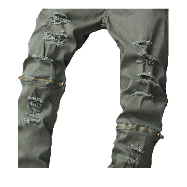 Men's Full Length Zipper Knee Pants