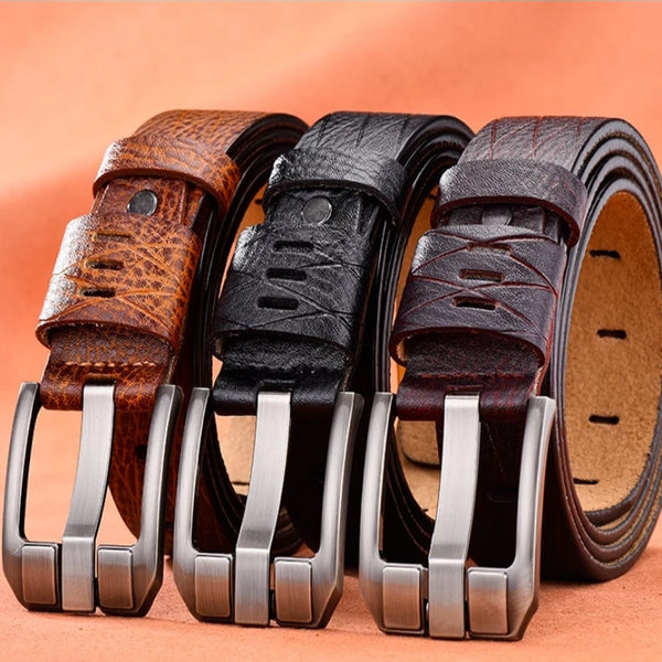 Men's Luxury Leather and Silvertone Belt
