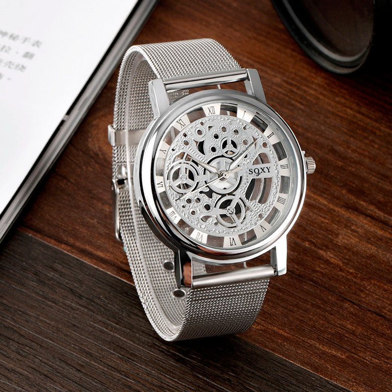 Men's Skeleton Simple Style Mesh Wrist Watch