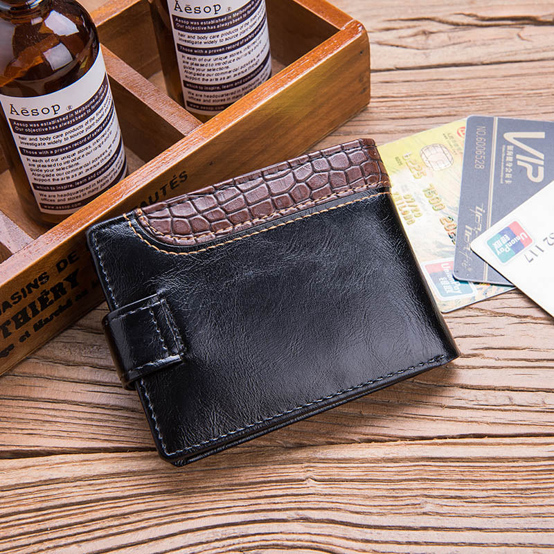 Men's Leather Snap Closure Wallet