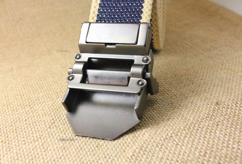 Men's Tactical Canvas Alloy Automatic Buckle Belt