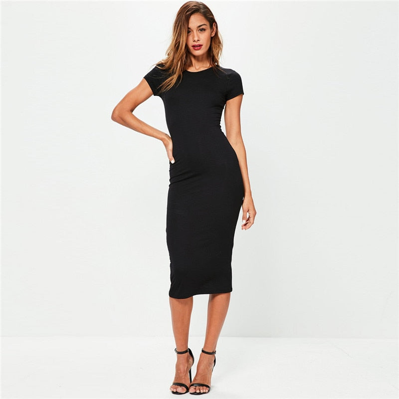 Women's Cotton Spring Long Solid O-Neck Dress