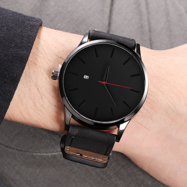Men's Minimalist Sleek Leather Watch