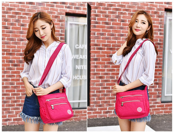 Women's Nylon Multi-Pocket Crossbody Messenger