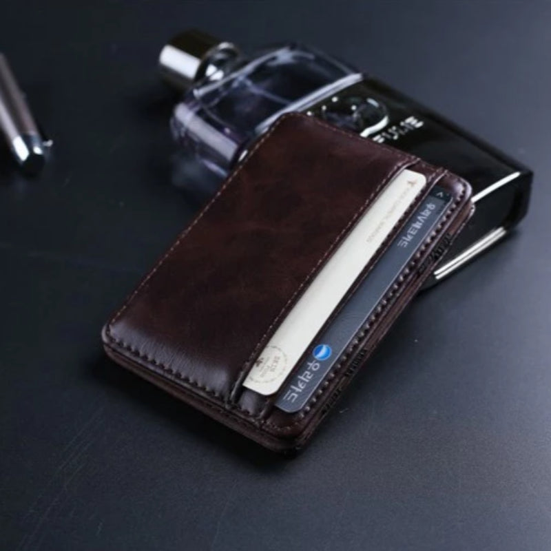 Men's Leather Magic Wallet & Money Clip