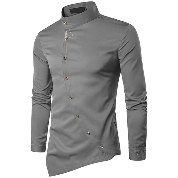 Men's Cotton Long-Sleeved Curved Button-Down Shirt