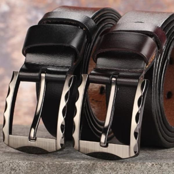 Men's Genuine Leather Luxury Belt with Silver Buckle