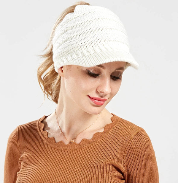 Women's Messy Bun Ponytail Beanie Hat with Brim