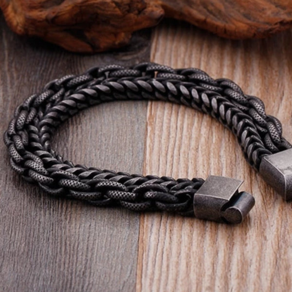Men's Stainless Steel Double Layer Link Chain Bracelet