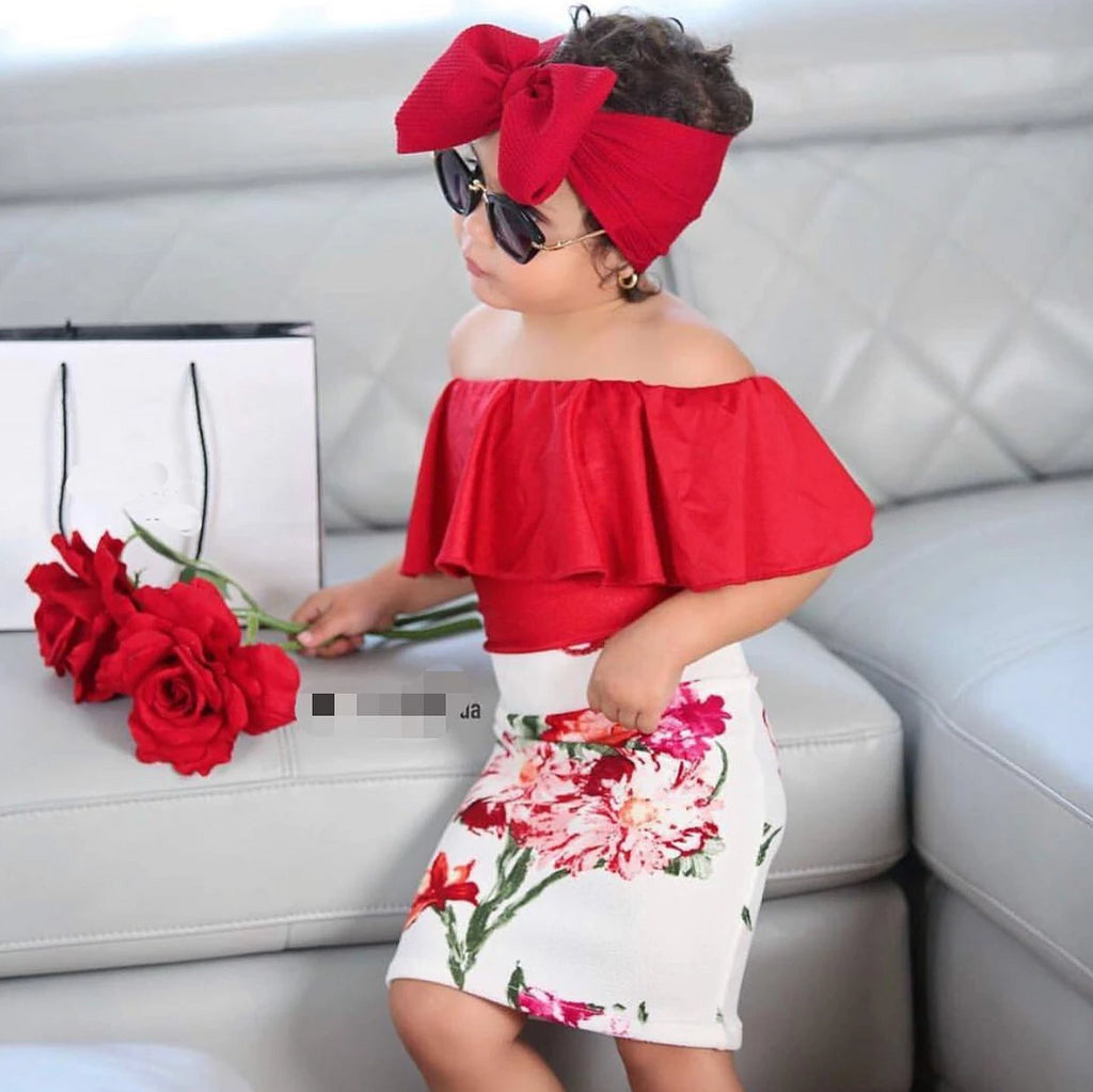 Girls 3Pcs Ruffles Top, High Waist Floral Skirt & Headband Outfit