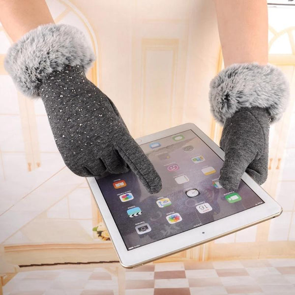 Women's Faux Fur Full Finger Gloves