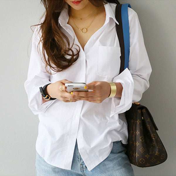 Women's One Pocket Button Down Long Sleeve Blouse