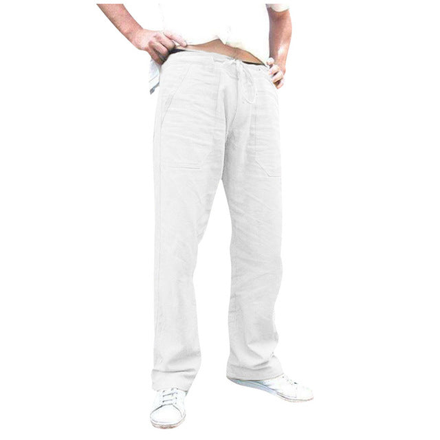 Men's Cotton Linen Natural Loose Elastic Waist Pants