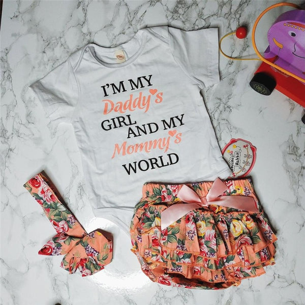 Newborn Baby Girl Floral Romper Set