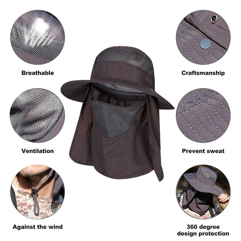 Unisex Wide Brim Bucket Hat With Face and Neck Protection Flap