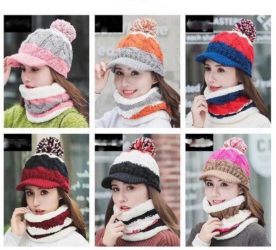 Women's Warm Knit Neck Scarf and Hat Set