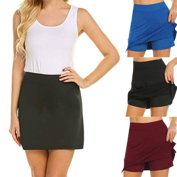 Women's High Waist Active Athletic Skirt With Underneath Shorts