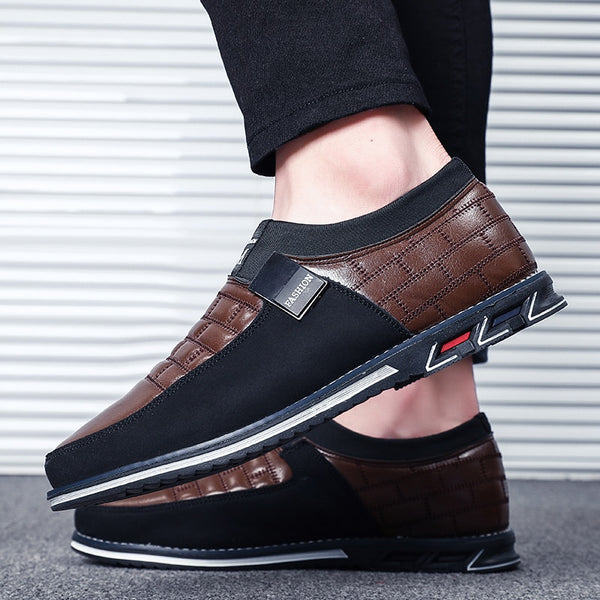 Men's Oxfords Leather Casual Slip On Shoes