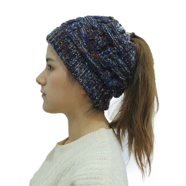 Women's Soft Knit Ponytail Beanie Winter Hat