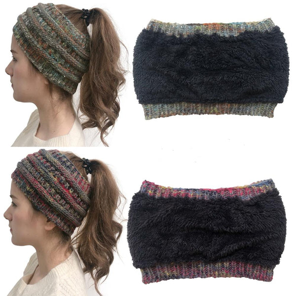 Women's Stretch Knitted Wool Crochet Ear Muff Band