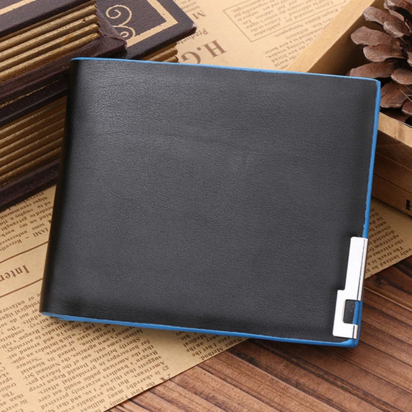 Black with Blue Side Men's Leather Open Multi Card Position Wallet