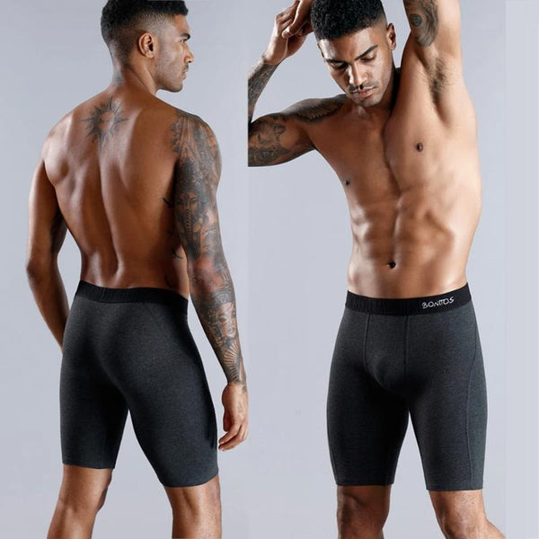 Men's 3pcs Long Boxer Brief Breathable Underwear