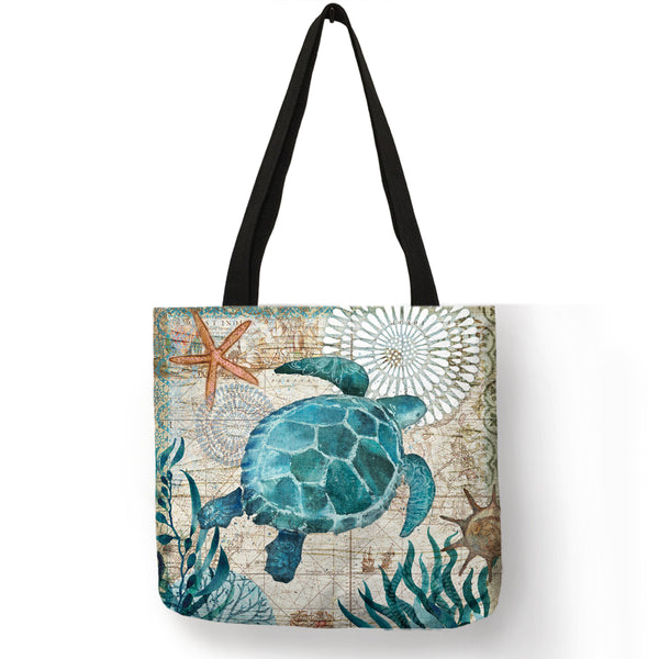 Sea Life Linen Tote Bag