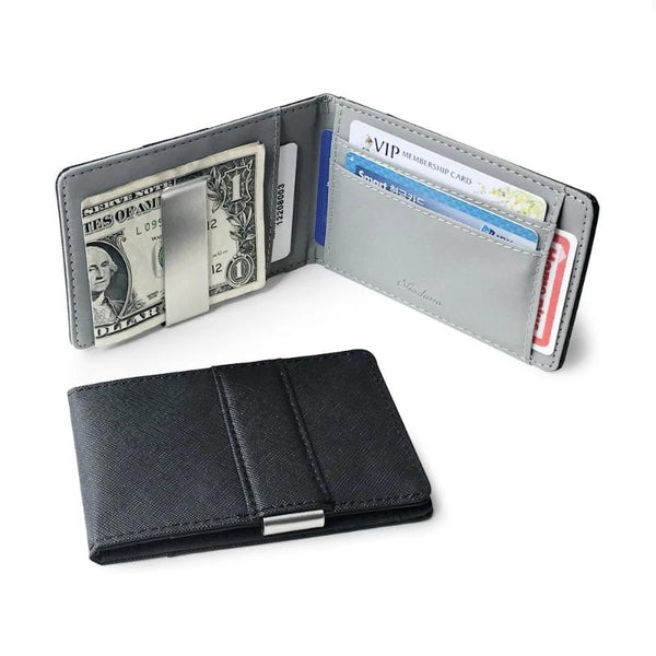 Men's Leather Thin Bifold Money Clip