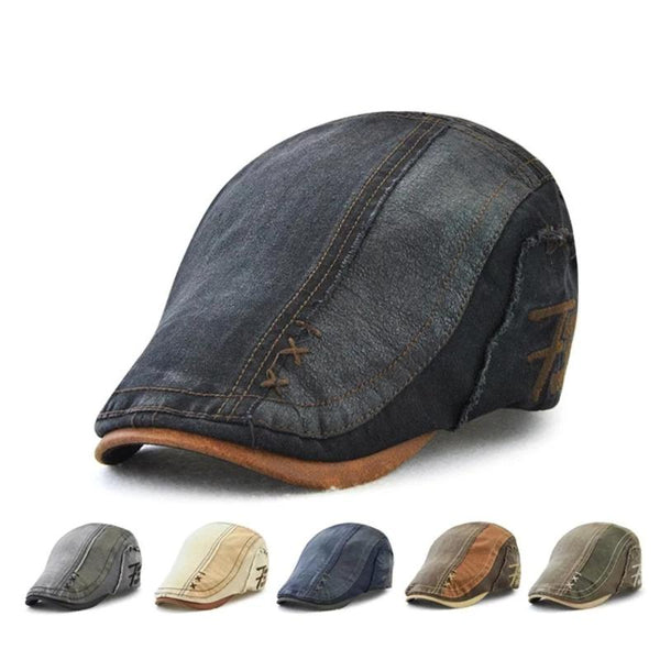Men's Vintage Style Cotton Patchwork Newsboy Cap Visor