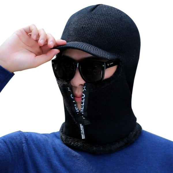 Men's Winter Knitted Balaclava Cap Ninja Mask Hat - Black