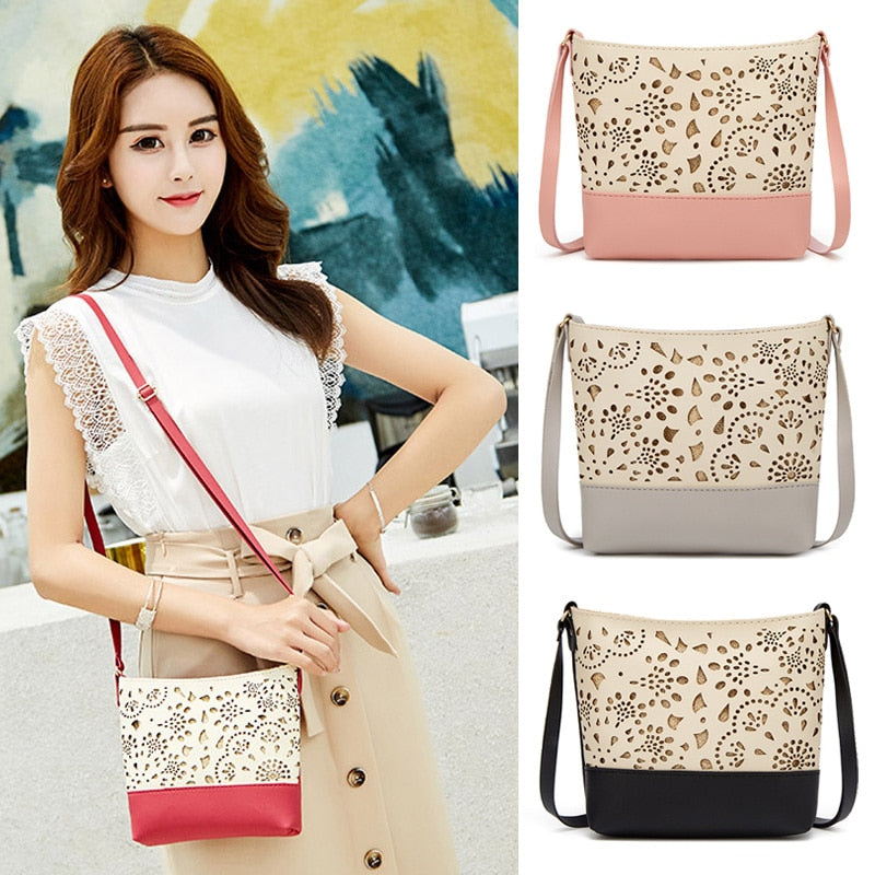 Women's One Shoulder Hollow Pattern Crossbody Adjustable Purse