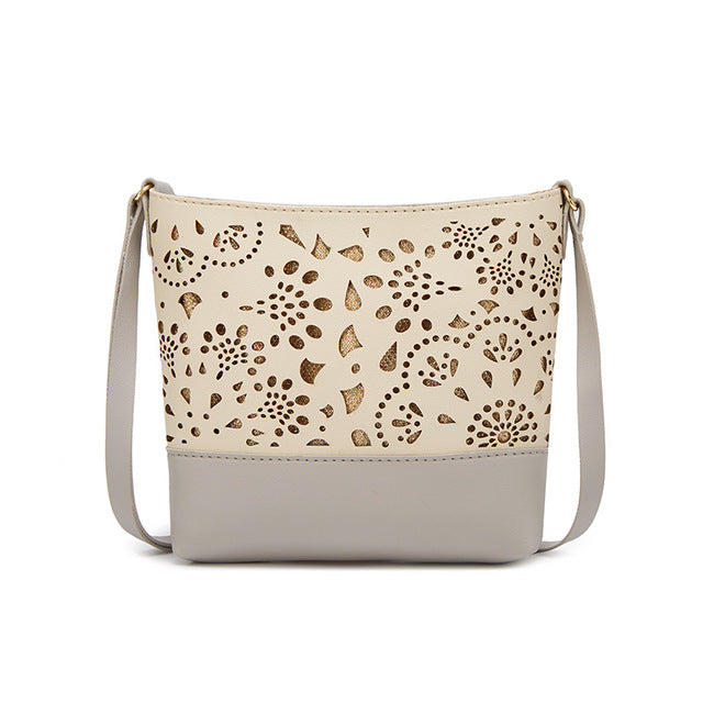 Women's One Shoulder Hollow Pattern Crossbody Adjustable Purse - Gray