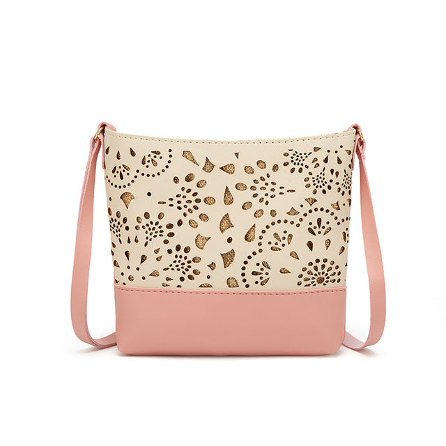 Women's One Shoulder Hollow Pattern Crossbody Adjustable Purse - Pink