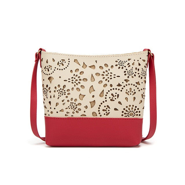 Women's One Shoulder Hollow Pattern Crossbody Adjustable Purse - Red