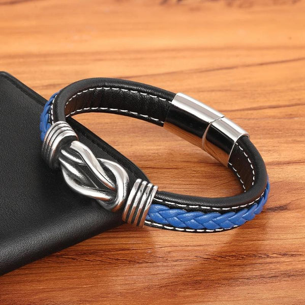 Men's Leather & Stainless Steel Bracelet