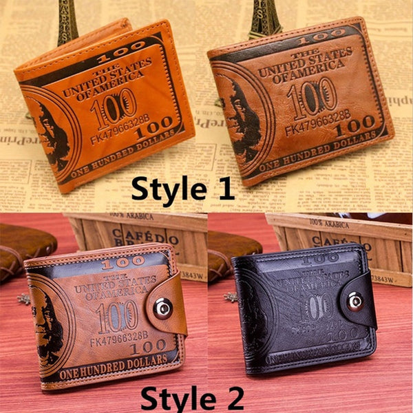 Men's Leather Large Capacity US Dollar Pattern Wallet