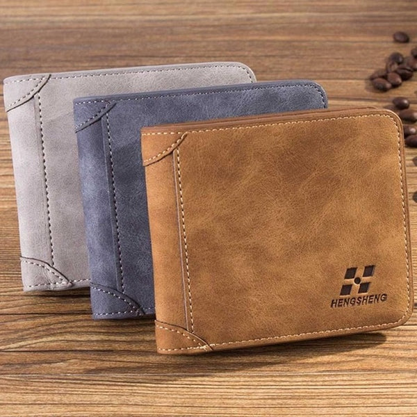 Men's Leather Flocked Wallet