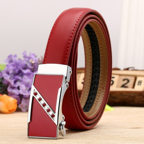 Women's Genuine Leather Automatic Buckle Embellished Belt