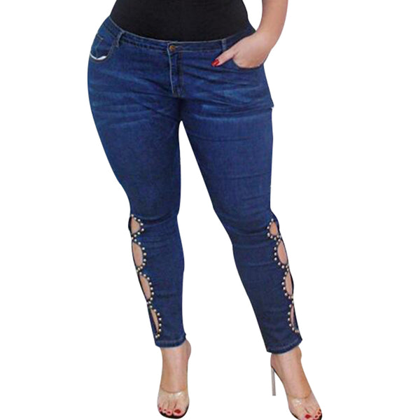 Women's Rivet Hollow Out Denim Mid Waist Jeans