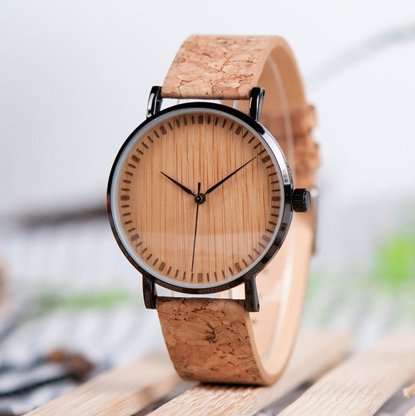 Men's Bamboo Cork Wooden Watch
