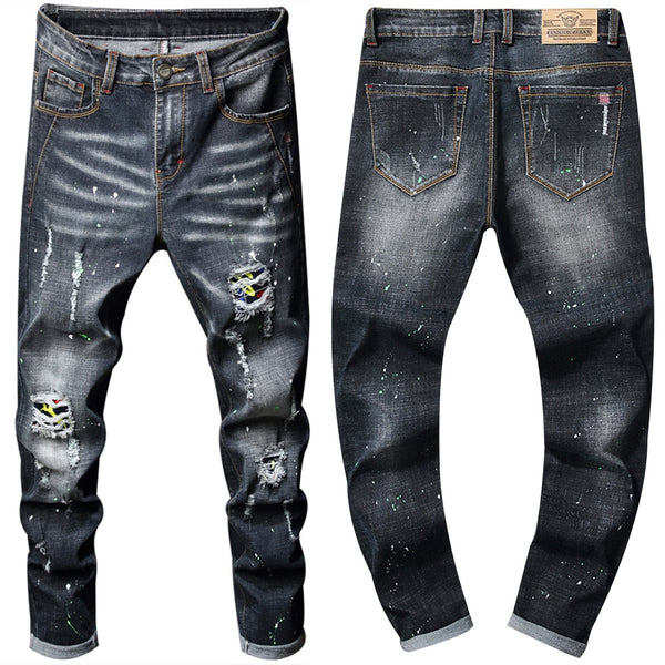 Men's Vintage Style Washed & Ripped Jeans