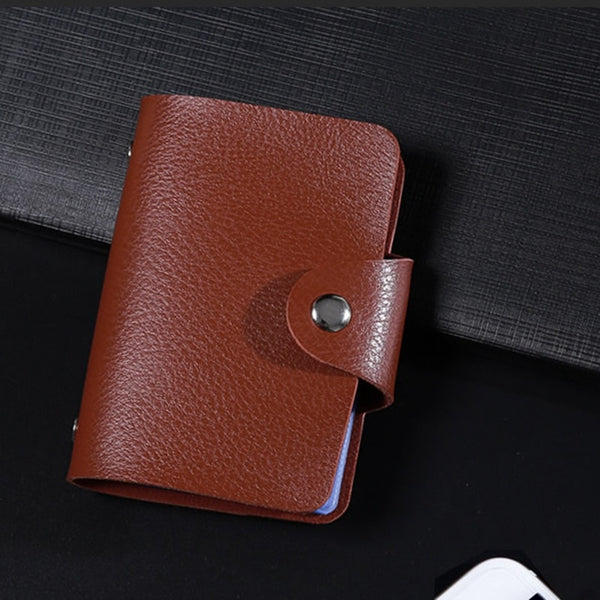 Leather 24 Pocket Id Card Holder-Multifunction-Business-Bank Card Wallet