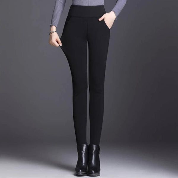 Women's Winter Warm Velvet Thick High Waist Elastic Pants