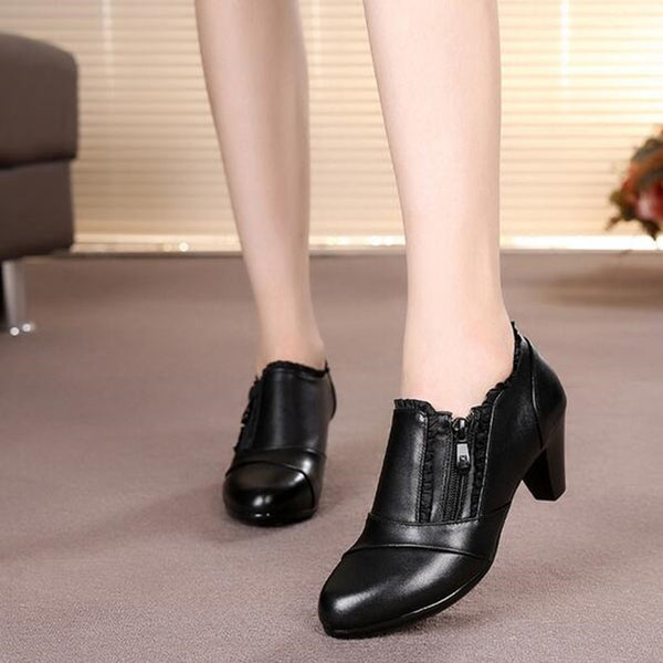 Women's Elegant Zippered Heeled Shoe
