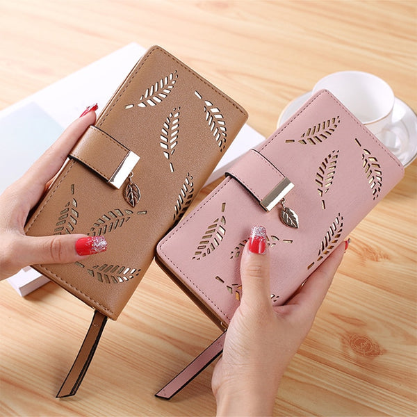 Women's Hollow Golden Leaves Wallet Clutch