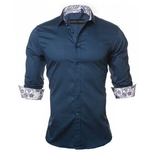 Men's 100% Cotton Cuffed Sleeve Dress Shirt