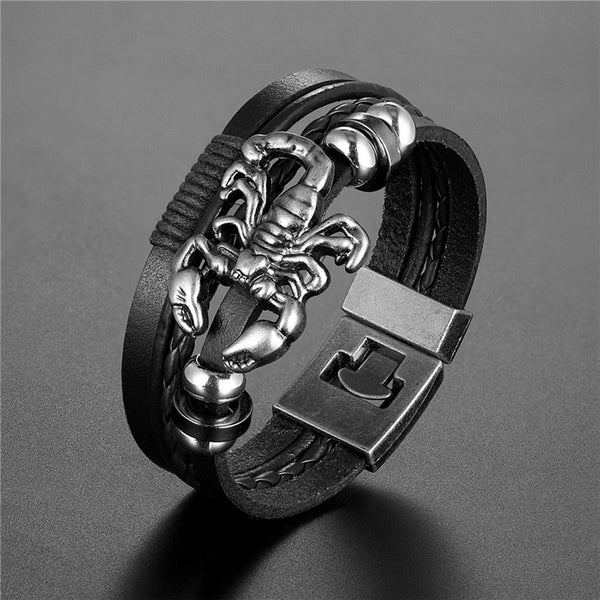 Men's Handmade Retro Woven Charm Leather Bracelet