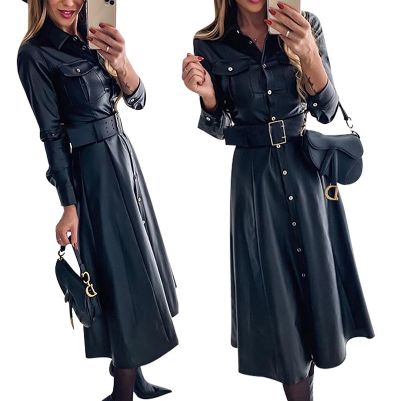 Women's Faux Leather A-Line Belted Dress