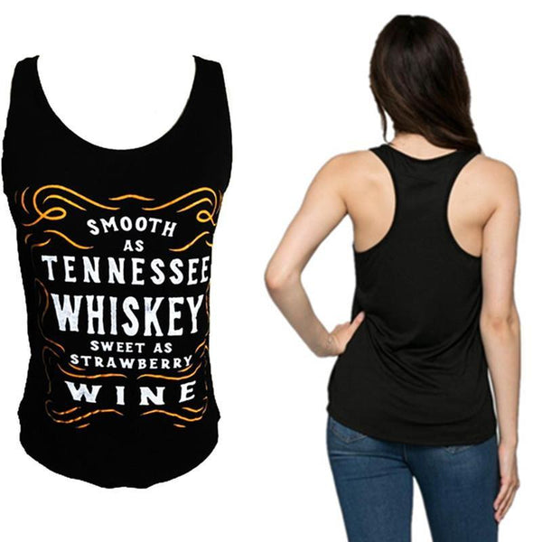 Women's Sleeveless Tank Top Smooth As Whiskey - Sweet As Wine